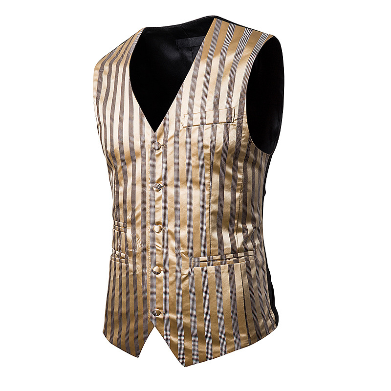 Suit Vest Blazers Tuxedo Breasted Gold Stripe Sleeveless Fashion Slim Jacket Stage-Performances
