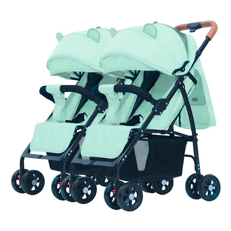 2020 New Cute Twin Baby Stroller Can Sit Can Lying Stroller Folding Pram Twin Detachable Trolley Foldable Dolly
