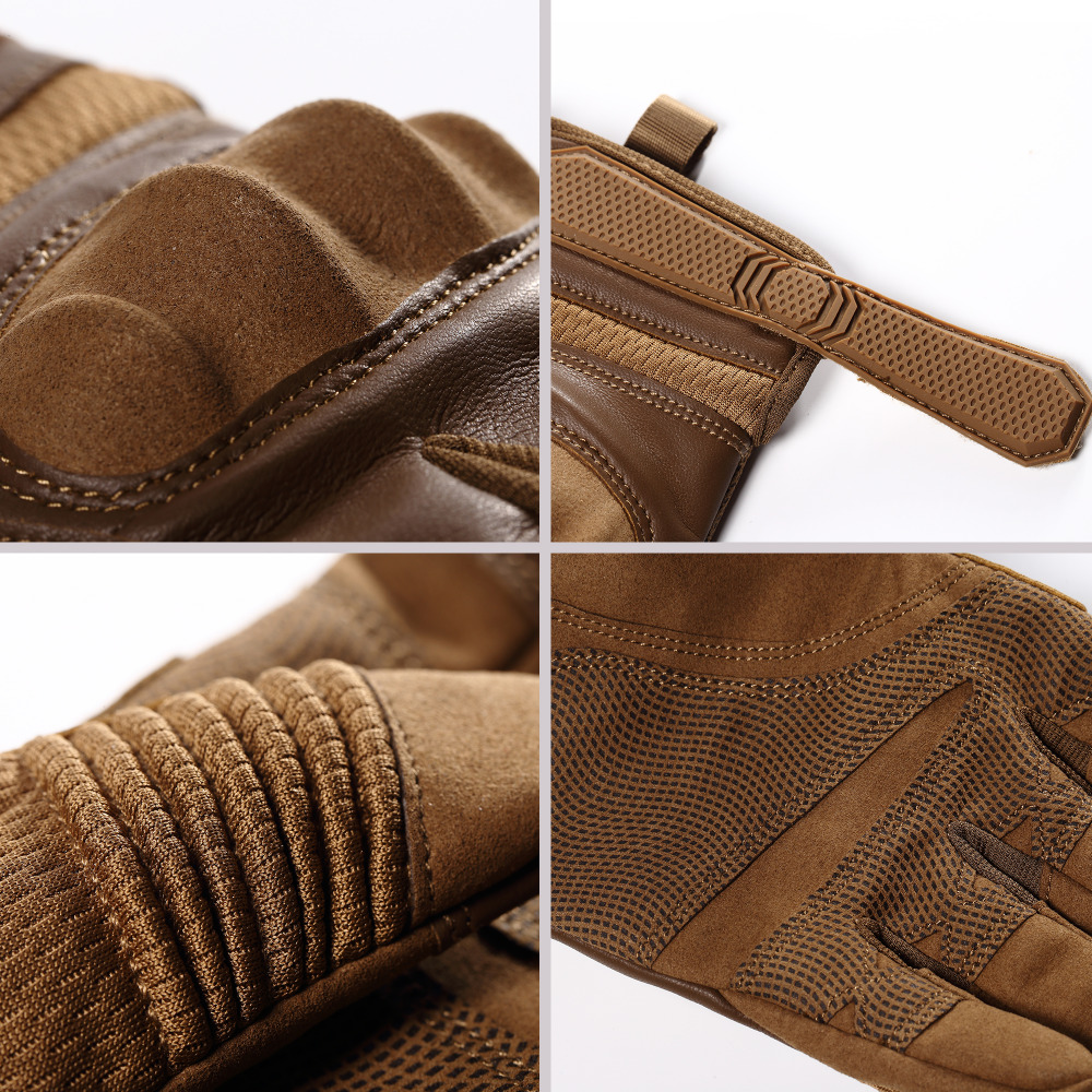 Touchscreen PU Leather Motorcycle Hard Knuckle Full Finger Gloves Protective Gear Racing Biker Riding Motorbike Moto Motocross 5