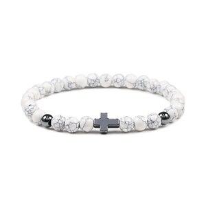 Image 5 - Hot 6MM Natural Stone Beads Prayer Bracelet Meditation Hematite Cross Jesus Bracelets Bangles For Men Women Jewelry Gift Pulsera