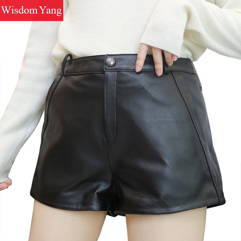 Autumn Wide Leg Real Sheep Skin Genuine Leather Shorts Women Loose High Waist Black Mini Short Sexy Wide-legged Pants Trousers