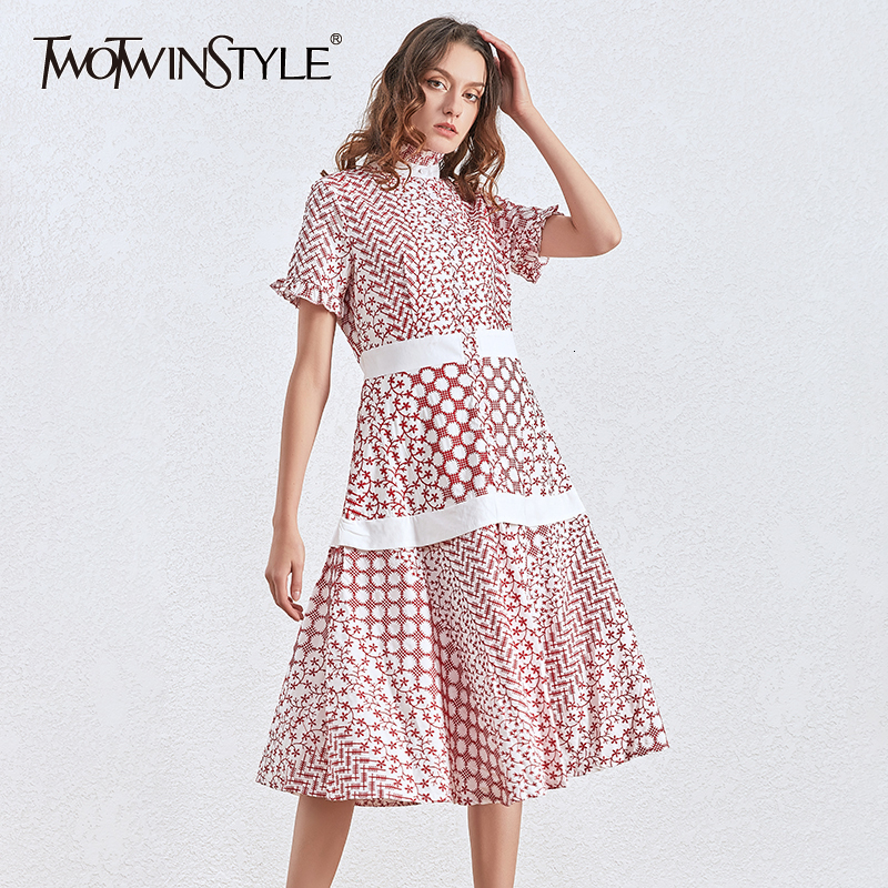 TWOTWINSTYLE Print Dresses Women Turtleneck Short Sleeve High Waist Hit Color Ruched Dress For Female Fashion Clothing 2020 Tide