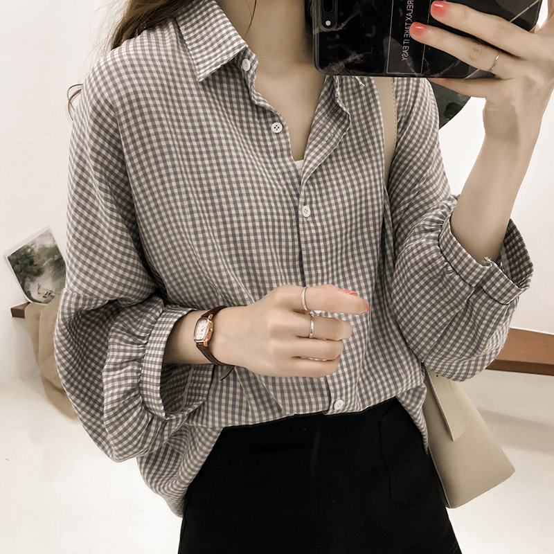 Korean Puff Sleeve Women Tops and Blouse 2021 Spring Plaid Shirt Women Plus Size Office Lady Blouse 4XL Clothes Blusas 8809 50 2