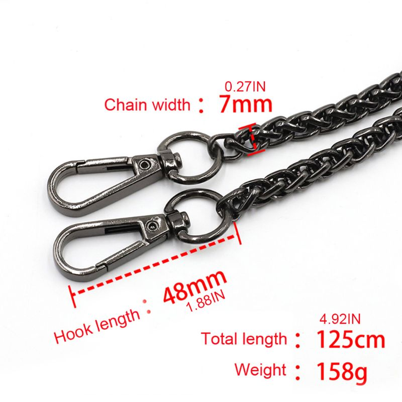 125cm DIY Chain Strap Handbag Chains Accessories Purse Shoulder Crossbody Replacement Straps with Metal Buckles