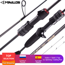 Mavllos DELICACY L.W 0.6-8g UL Fishing Rod Casting Spinning Rod Ultralight Carbon Fiber Hollow + Solid 2 Tips Bait Casting Rods