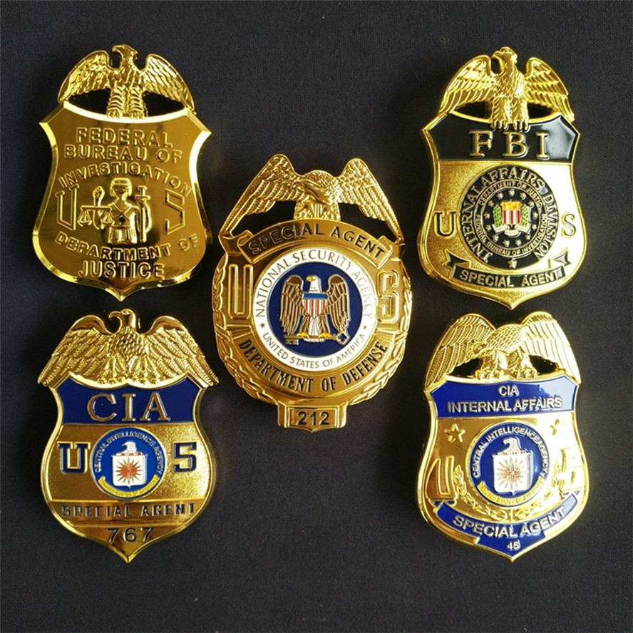 US FBI Metal Badge Police Special Agent Officer Badges Police Detective Badge CIA Brooch Pin Insignia Cosplay For Collection
