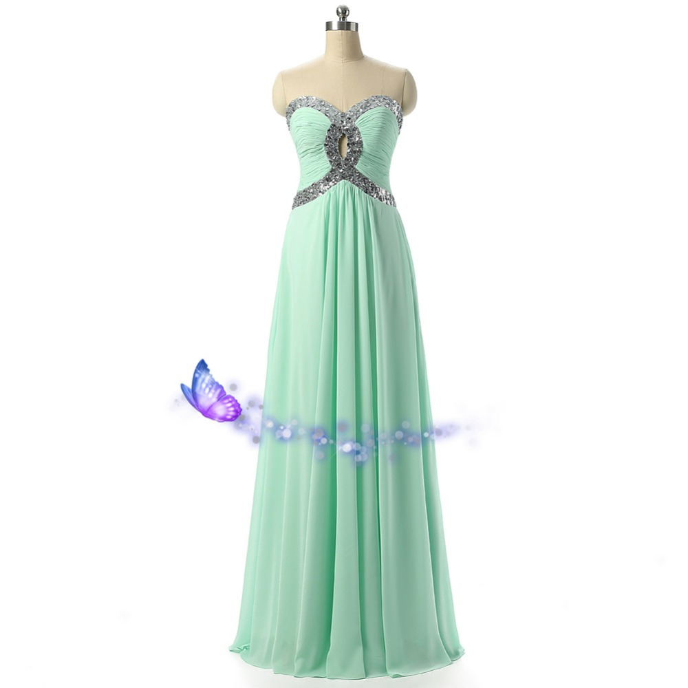 Sexy Sweetheart Cheap Long Prom 2018 New Fashion Real Photos Chiffon Crystal Sequined Special Occasion Weddings Bridesmaid Dress