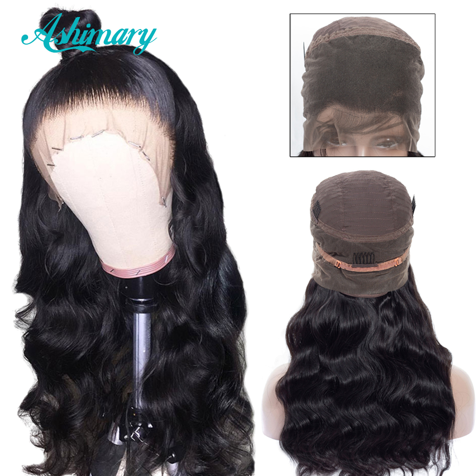 Ashimary Wig Frontal-Wigs Human-Hair Body-Wave Lace-Front Black Women 360-Lace Peruvian