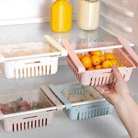 Estante de almacenamiento para refrigerador ajustable, organizador para nevera, cocina, cajón extraíble de Color sólido, cesta para el hogar