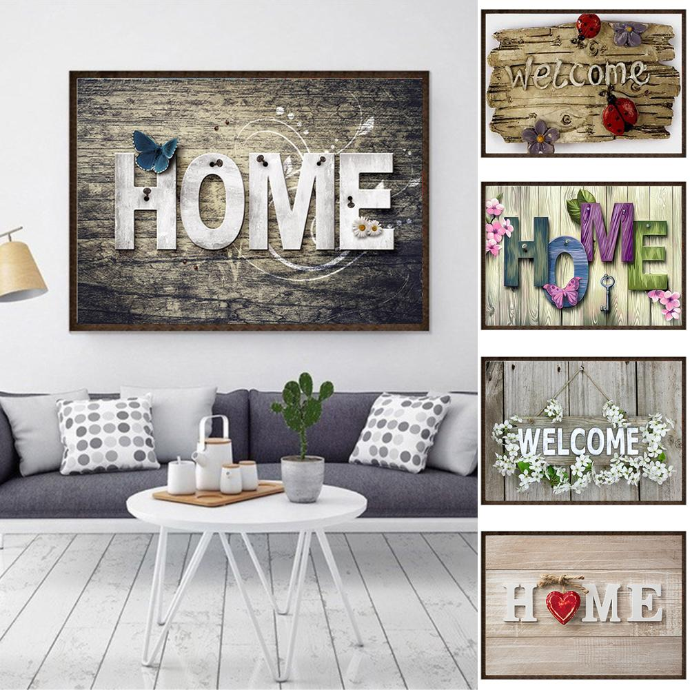 30x40cm Welcome Home Cross Stitch DIY Diamond Painting Embroidery Crosses Room Wall Decor Craft Gift Pain