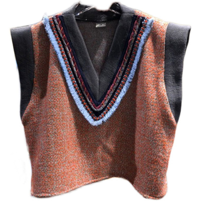 [EWQ] Autumn spring New 2021 Women Casual Loose Panelled Striped V-neck Tweed Loose Shoulder Sleeveless Pullover Vest 8D336 5
