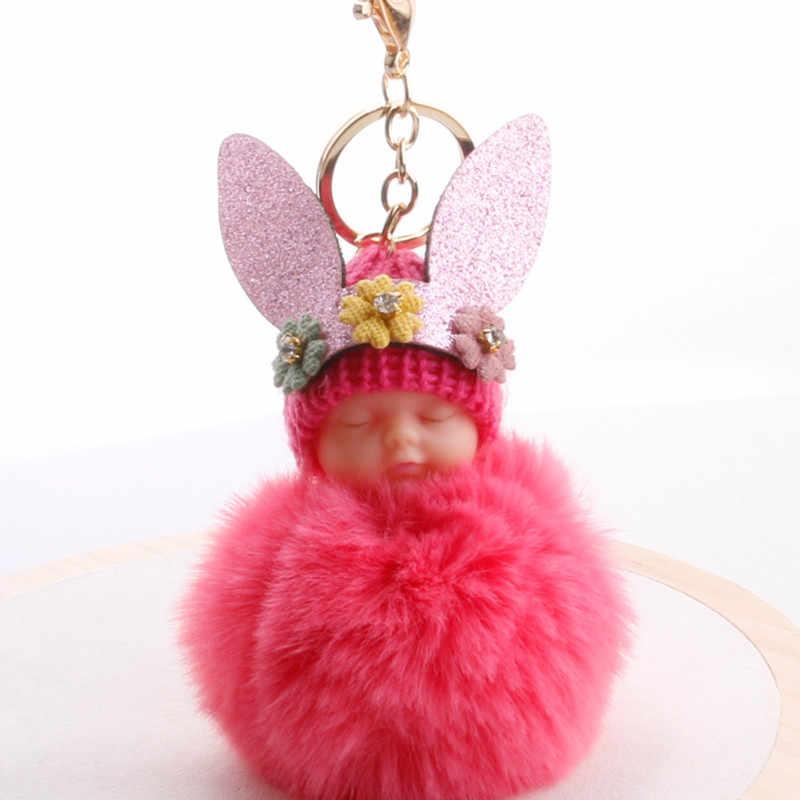 Anjo lindo Bebê Dormindo Crianças Boneca de Brinquedo de Pelúcia Coelho Orelha Pele Bola Chaveiro Pingente Saco Meninas Enfeites de Páscoa Favores xmas Gift