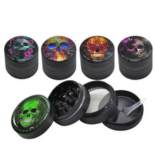 Tobacco Grinder 4 Layers Skull Pattern Aluminum Alloy Material Cigarette  Hookah Shisha Accessories Herb