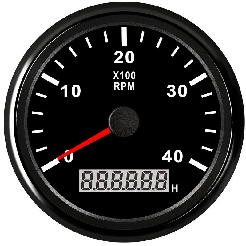 Marine RPM 85mm Tachometer Gauge LCD Tacho Hour Meter Meter 12//24V 0-4000 RPM
