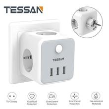 TESSAN Европейская Сетевая розетка Мощность пропилен-каучука прокладки с 3 розетками переменного тока + с 3 портами (стандарт Зарядное устройст...