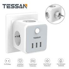 TESSAN EU Steckdose Power Streifen mit 3 AC Outlets + 3 USB Ladegerät Adapter Überlast schutz 6-in-1 buchse auf/off Schalter