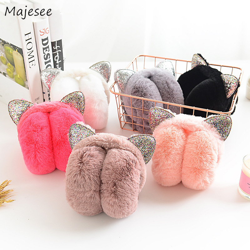 Earmuffs Women Winter Warm Solid Kawaii Simple Student Girls Sweet Pink Soft High Quality Comfortable Womens Ear Warmer Fashion