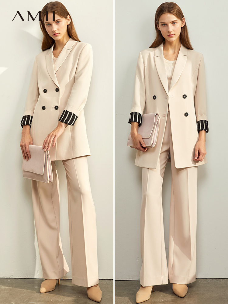 Amii Winter Office Lady Elegant Suit Fashion Female Double Row Button With Belt Slim Blazer Top 11960117