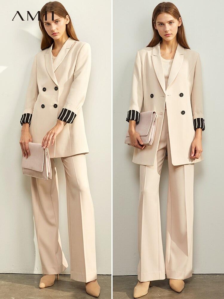 Amii Winter Office Lady Elegant Suit Fashion Female Double Row Button With Belt Slim Blazer Top 11960117