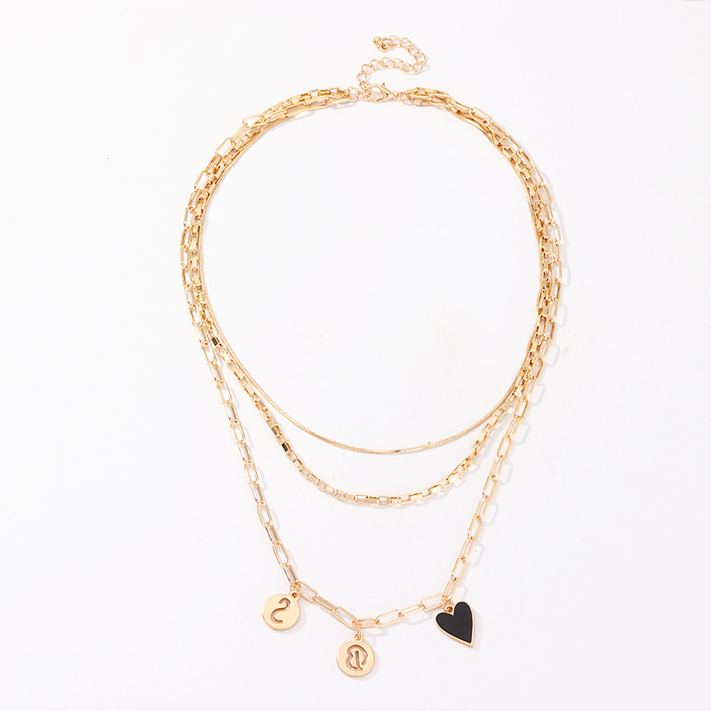Retro Symbol Element Heart Pendants Necklaces for Women Gold Color 2020 Fashion Jewelry Ladies Layered Necklace Simple New
