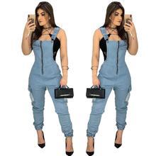 Fashion Casual Women Denim Jumpsuit Strap Rompers Overalls Female Streetwear Bod