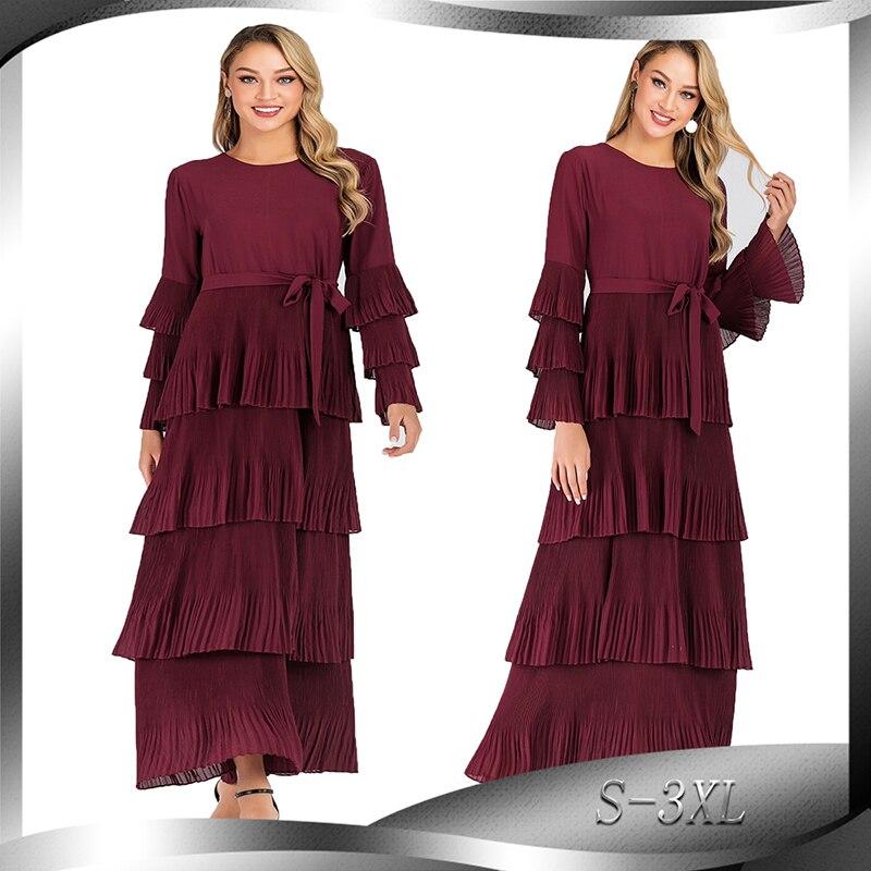 Grande taille rouge plissée Abaya robes turques à manches longues Hijab robe musulmane vêtements islamiques Abayas pour femmes Caftan Caftan dubaï