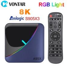 Caixa clara da tevê de vontar a95x f3 rgb android 9.0 4gb 64gb 32gb amlogic s905x3 8k 60fps wifi media player a95xf3 x3 2gb16gb tvbox