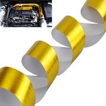 A цвета: золотистый, серебристый 2 ''Термальность выхлопной лента забора воздуха тепла изоляционный экран Обёрточная бумага отражающая теплопроводная барьер самоклеющиеся двигателя 2 дюймовый 5/10M
