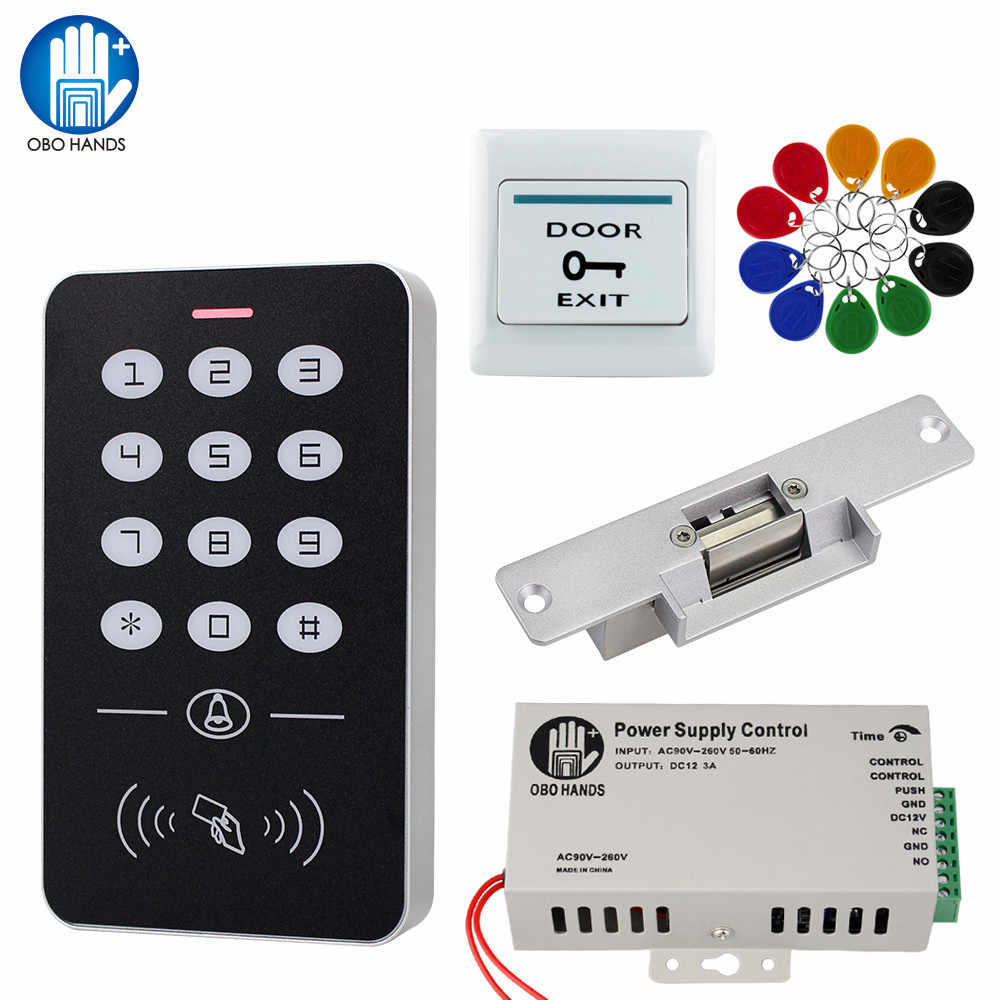 Pintu Akses Kontrol Sistem Kit RFID Access Control Keypad + Power Supply + Electric Magnetic Lock Bolt Strike Kunci + 10 Pcs Kunci