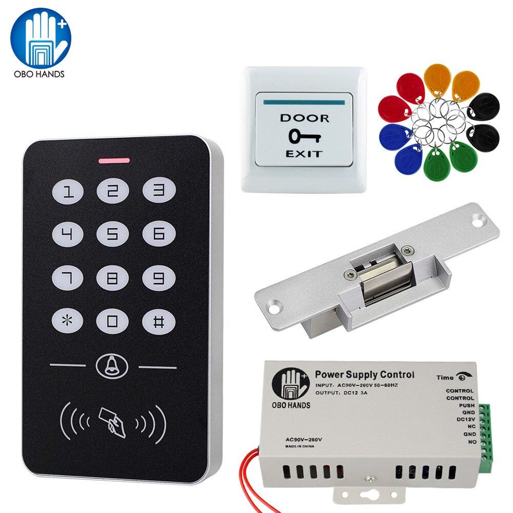 ระบบควบคุมประตูชุด RFID Access Control + แหล่งจ่ายไฟ + แม่เหล็กล็อค Bolt Strike ล็อค + 10pcs คีย์