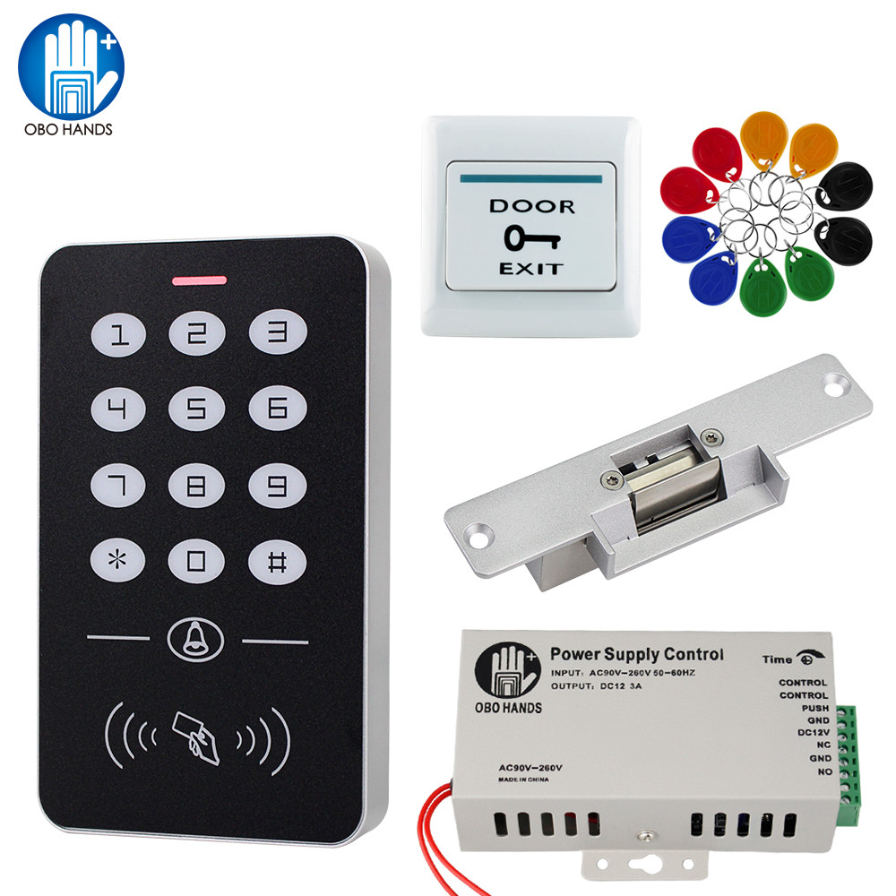 Door Access Control System Kit RFID Access Control Keypad + Power Supply + Electric Magnetic Lock Bolt Strike Locks + 10pcs Keys