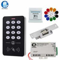 Door Access Control System Kit RFID Access Control Keypad + Power Supply + Electric Magnetic Lock Bolt Strike Locks + 10pcs Keys