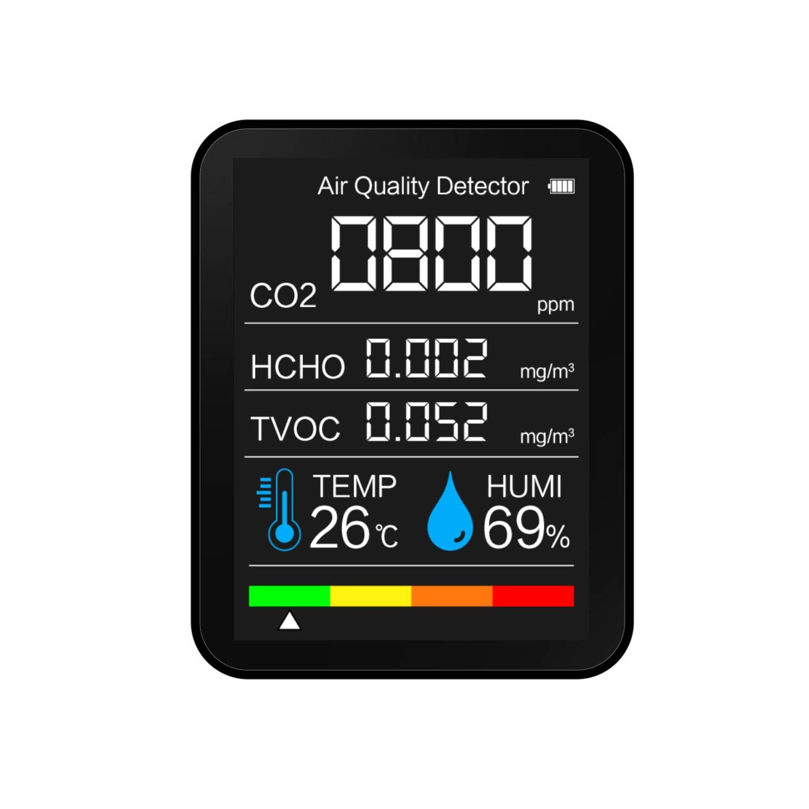 Детектор CO2, портативный детектор качества воздуха, интеллектуальный детектор TVOC HCHO, тестер температуры и влажности, монитор диоксида углер...