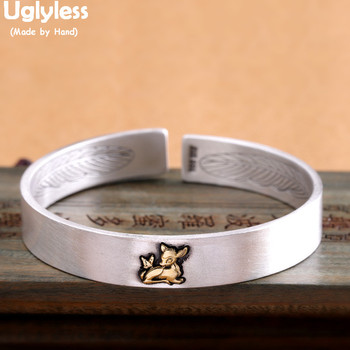 Uglyless Solid 999 Silver Lotus Deer Bangles for Women Double-side Carved Feather Open Bangles Thai Silver Motto Jewelry BA653