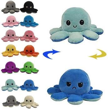Reversible Flip Octopus Plush Stuffed Toy Soft Double-Sided Reversible Octopus Plush Angry Happy Sad Doll Children Girls Dolls