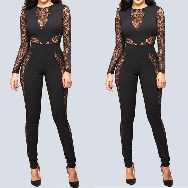 Fashion Women Long Sleeve Lace Hollow Out Jumpsuit Sexy Slim Lace Floral Bodycon Rompers Clubwear Long Trousers S-XL