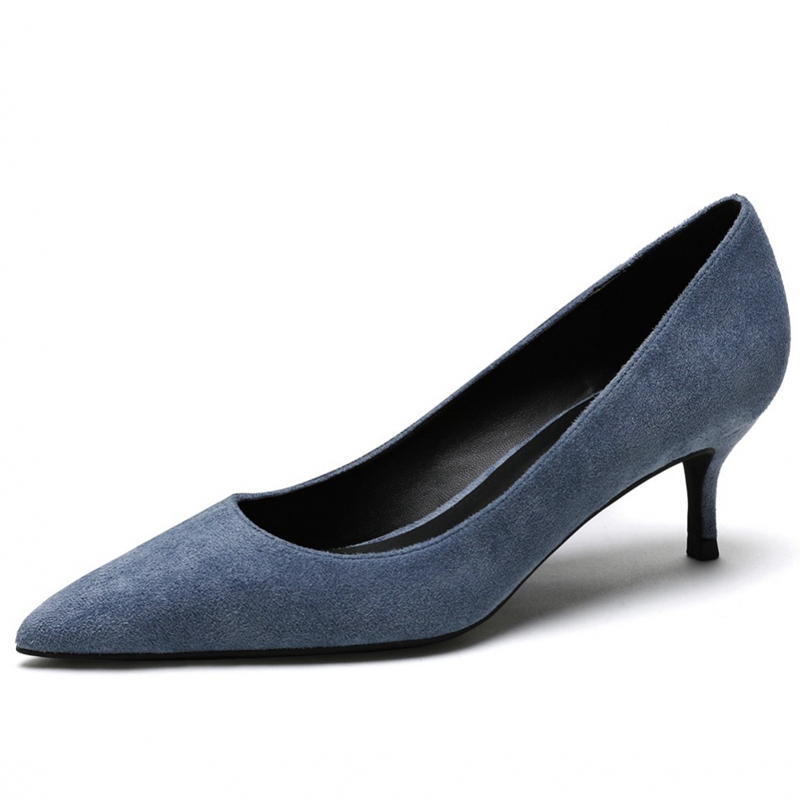 New Arrivals Quality Soft Kid Suede Leather Woman Shoes Pointed Toe Shoes Woman Pumps Office Lady Shoes Big Size 34-43 N0026