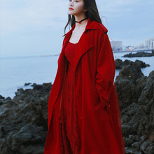 Women Abrigos Mujer Invierno 2020 Autumn Vintage Casual Loose Red Belted Trench