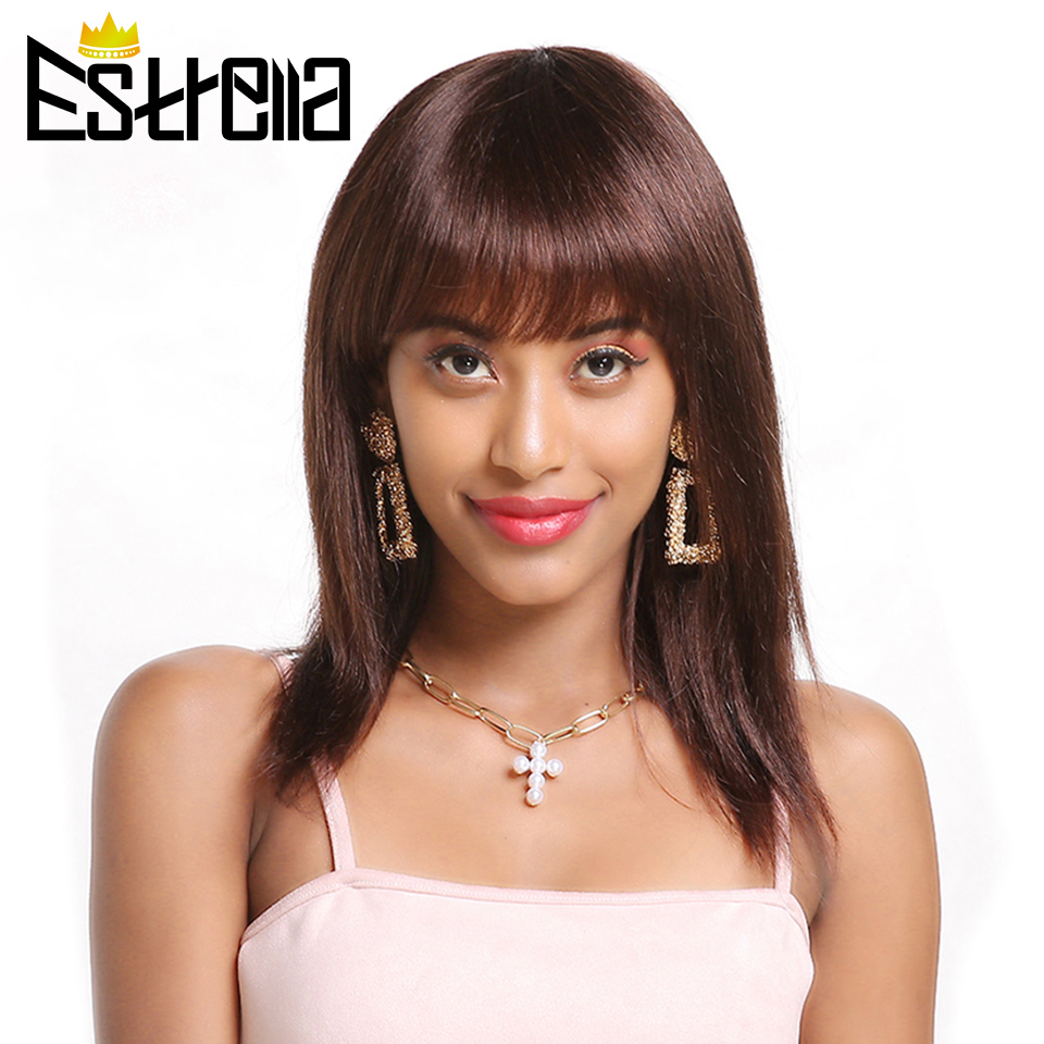 Straight Short Human Hair Wigs Brazilian Machine Made Wig Glueless Adjustable Bangs Natural Black Non-remy Hair Human Wigs