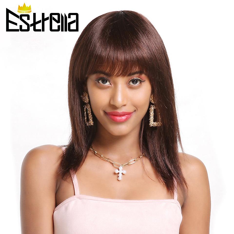 Straight Short Human Hair Wigs Brazilian Machine Made Wig Glueless Adjustable Bangs Natural Black Non-remy Hair Human Wigs