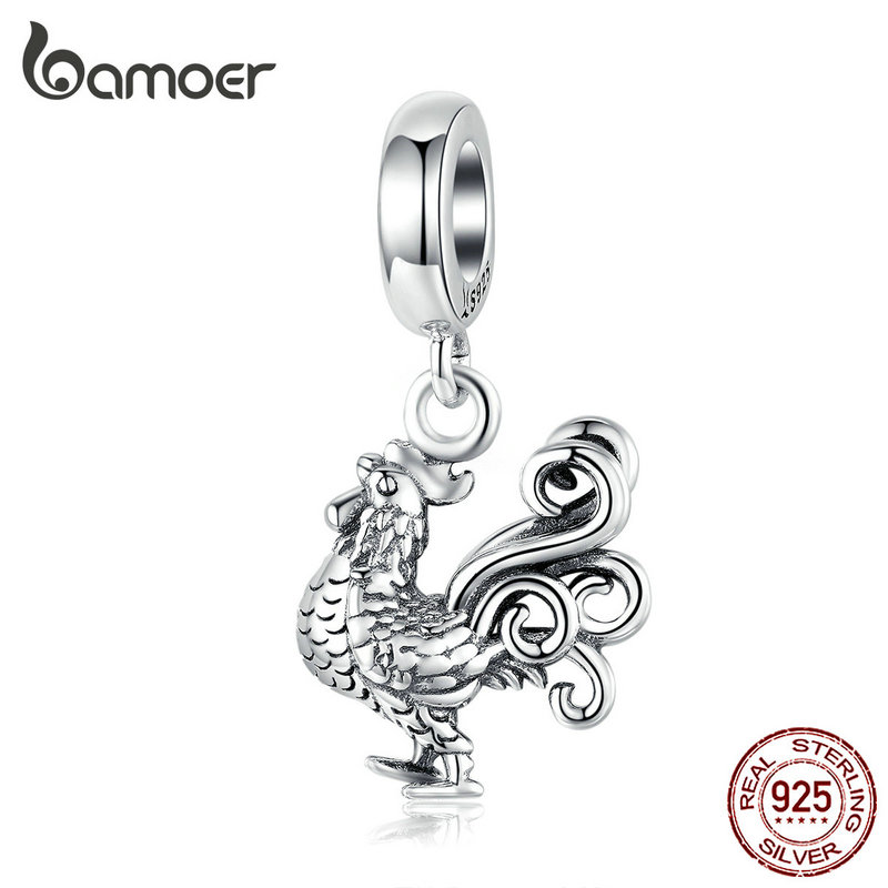 Bamoer Silver 925 Jewelry Pendant Charm Orginal 925 Bracelet Or Necklace Deign Brave Rooster Charms DIY Jewelry SCC1337