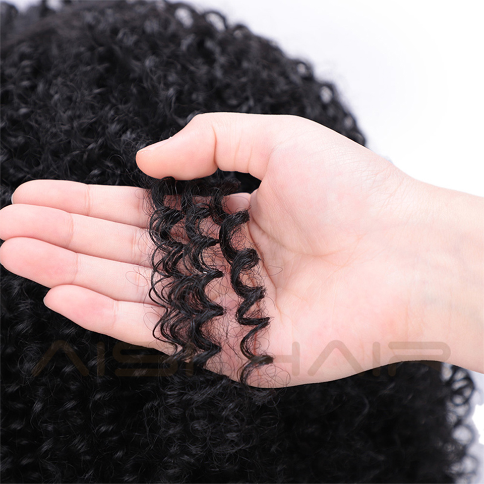 Image 2 - AISI HAIR Short Afro Kinky Curly Wig Synthetic Black Lace Front Wigs for Black Women Side Part Hair Heat Resistant Fiber Wigs-in Synthetic Lace Wigs from Hair Extensions & Wigs