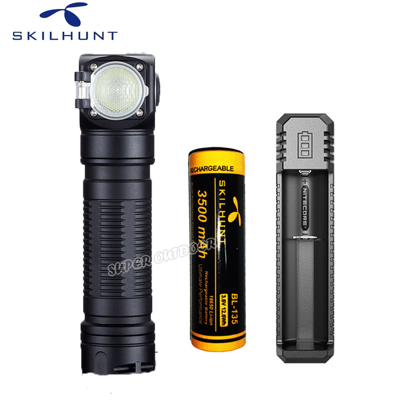 Skilhunt H04 H04R H04F 1200 Lumen Two Customized UI USB Magnetic Rechargeable LED Flashlight + Headband+battery+charger
