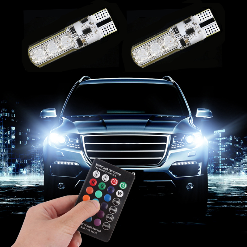 LED T10 Remote Control W5W 501 RGB Color Changing Car Wedge Side Light Bulb Auto Decorative Atmosphere Lamp image