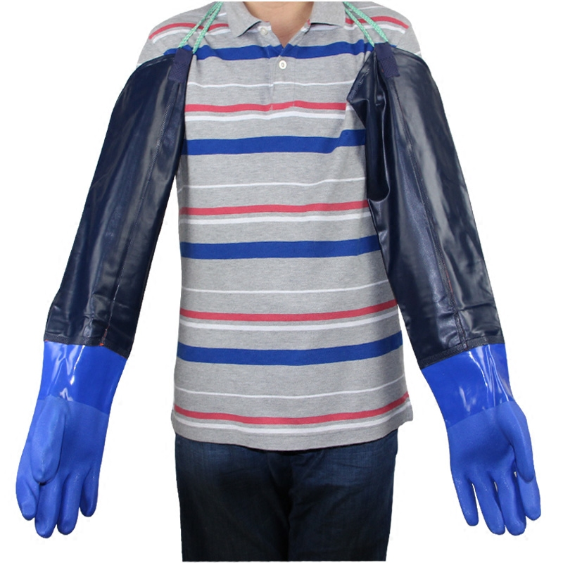 Long Thick Widened Mouth Durable Industrial Acid And Alkali Cleaning Rubber Fishing Gloves With Hanging Buckle