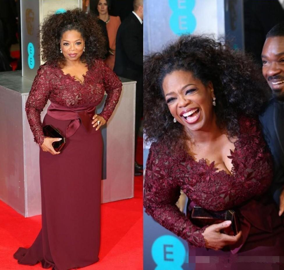 Red Carpet Plus Size Burgundy Mother Of The Bride Dresses Oprah Winfrey V-Neck Long Sleeve Sweep Train Evening Dresses For Women