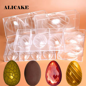Chocolate-Mold Bakery-Tools Polycarbonate Happy-Easter-Egg Baking Plastic Cracked Egg-Festival-Decation