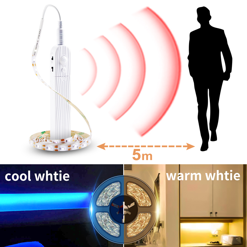 Led Motion Sensor Cabinet Light Strip Switch Night Light DIY Closet Kitchen PIR Wardrobe Lamp Wireless Lights Led Bedroom Light