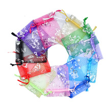100pcs/lot Silver Butterfly Organza Bag Christmas Wedding Voile Gift Jewelry Packing Drawstring Pouch Decoration Storage