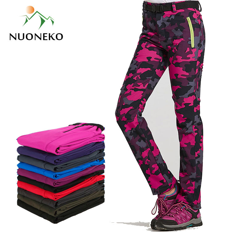 Women Warm Winter Softshell Pants Thick Fleece Lining Trousers Camouflage Pants Thermal Waterproof Windproof Woman Pants PM24